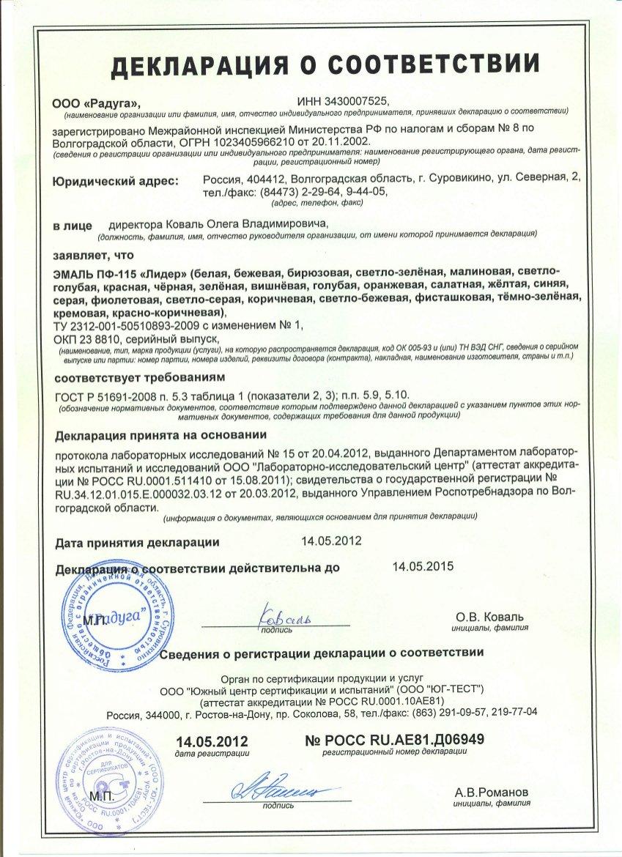 Сертификат На Олифу